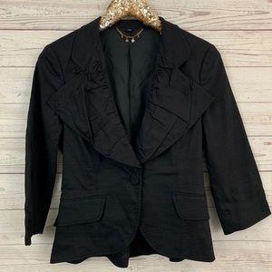 Bebe black pintuck blazer jacket one button career